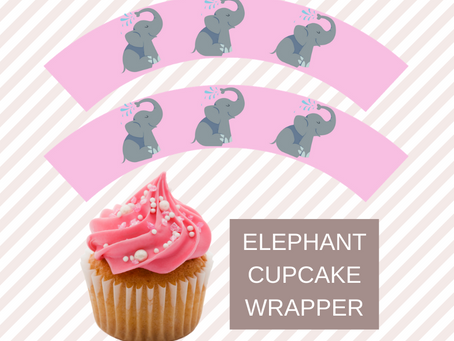 Elephant Cupcake Wrappers | Free Printable Elephant Party Decorations | Elephant Birthday Ideas