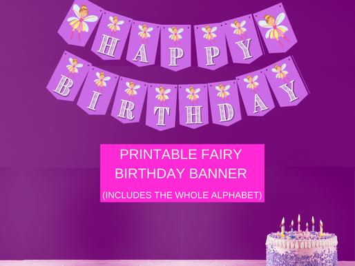 Fairy Garden Themed Birthday Décor: Fairy Happy Birthday Banner and Fairy Alphabet Banner