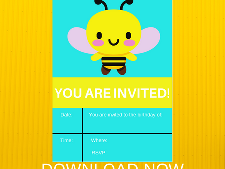 Bumble Bee Invite | Bumble Bee Themed Birthday Invitations | Bumble Bee Birthday Party Ideas