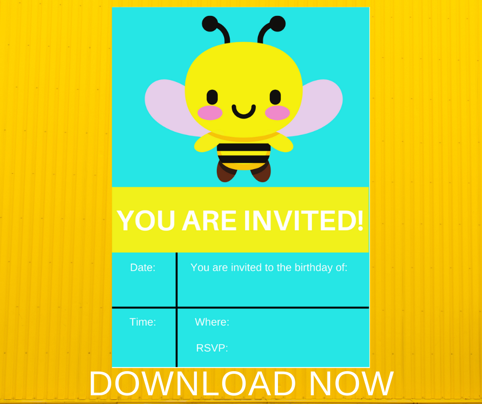 Bumble bee birthday party invitation, 5x7 card