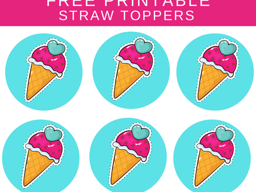 Ice Cream Birthday Party Decoration Ideas - FREE Printable Straw Toppers