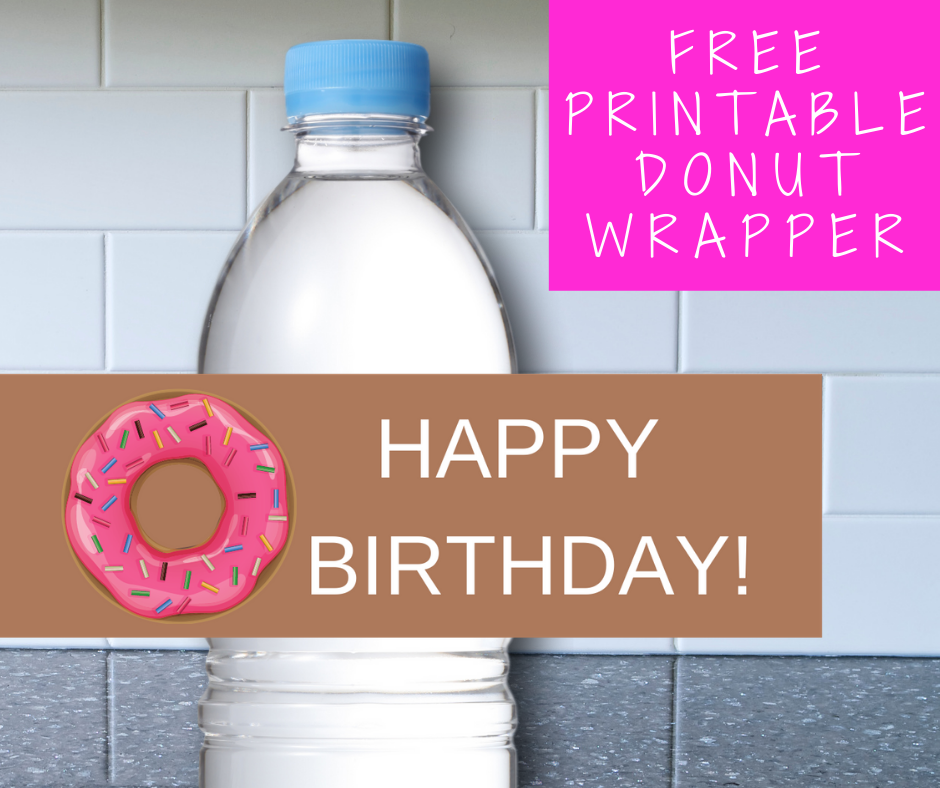 donut themed water bottle label for a birthday party
