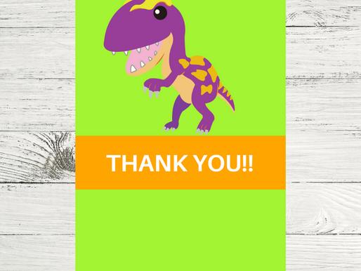 Dinosaur Thank You Card | Free Printable Dinosaur Themed Thank You Note | DIY Dinosaur Party Ideas