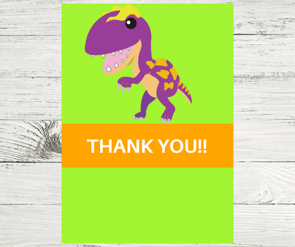 dinosaur themed thank you card for a little girls birthday party
