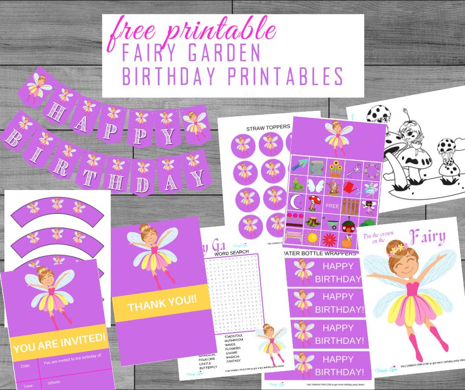 free printable fairy garden party kit
