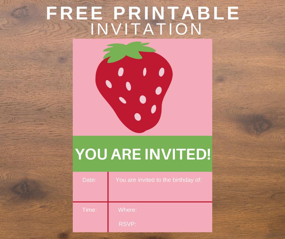 strawberry themed birthday party invitation
