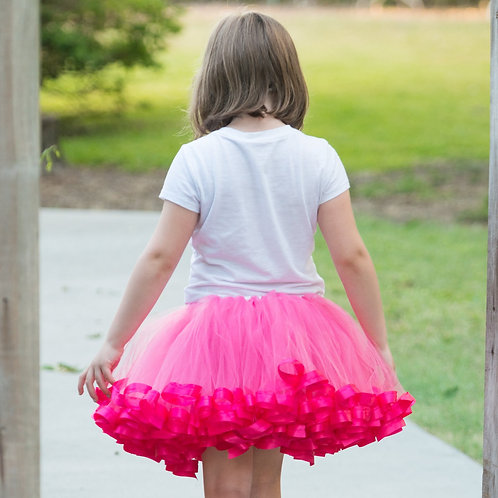 hot pink tutu skirt on big girl