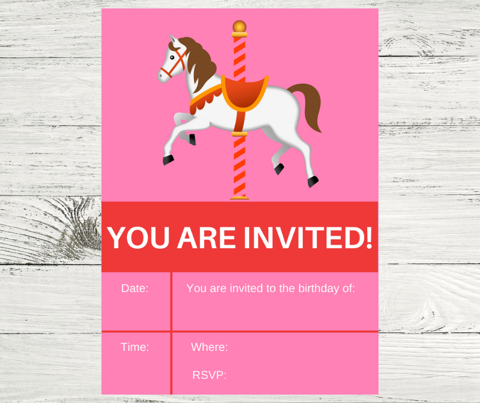 carousel themed birthday party invitation