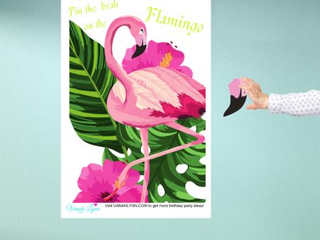 Pin the Beak on the Flamingo | Flamingo Themed Party Game | Flamingo Birthday Activity Ideas