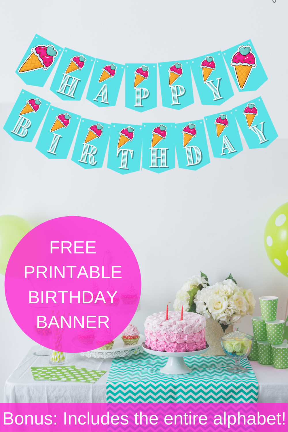 free printable ice cream themed birthday party banner