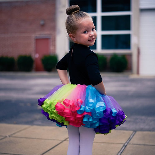 rainbow unicorn tutu on birthday girl