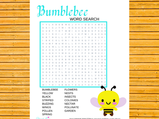 Bumble Bee Word Search | Free Printable Bumble Bee Activity Sheet | Freebie Bumble Word Find for Kid