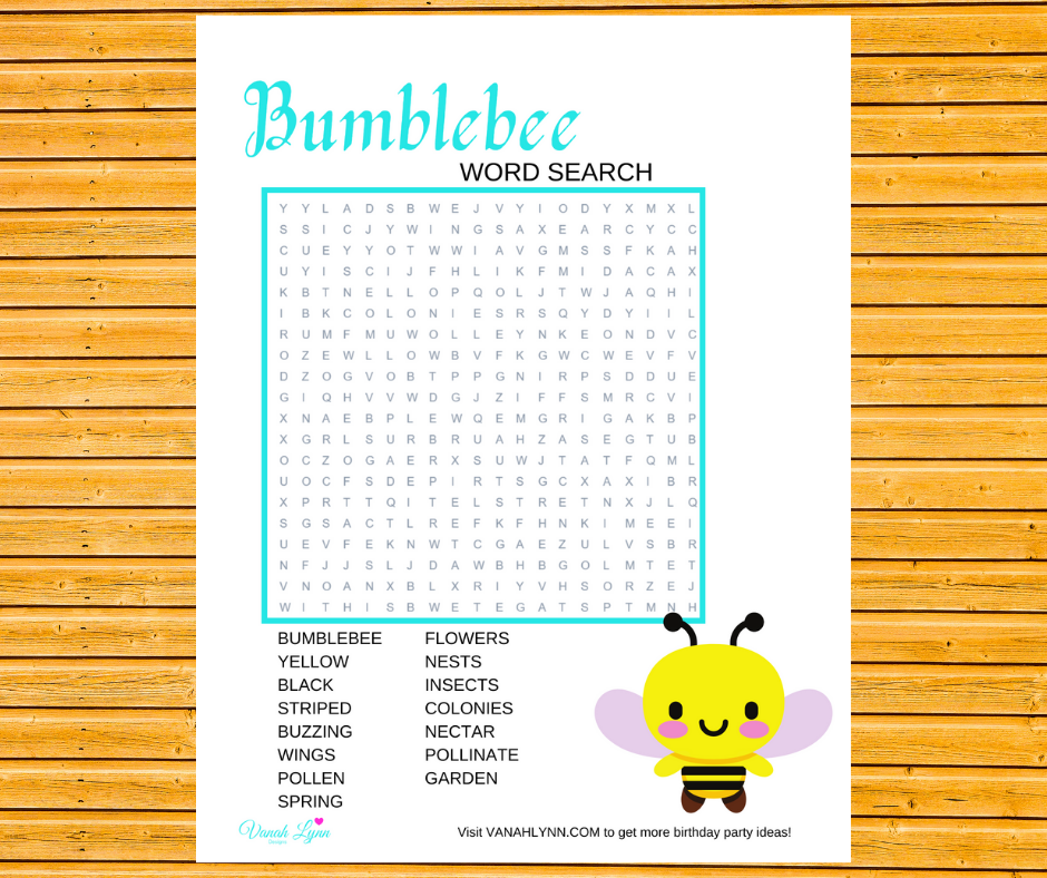 bumble bee word search for kids birthday party