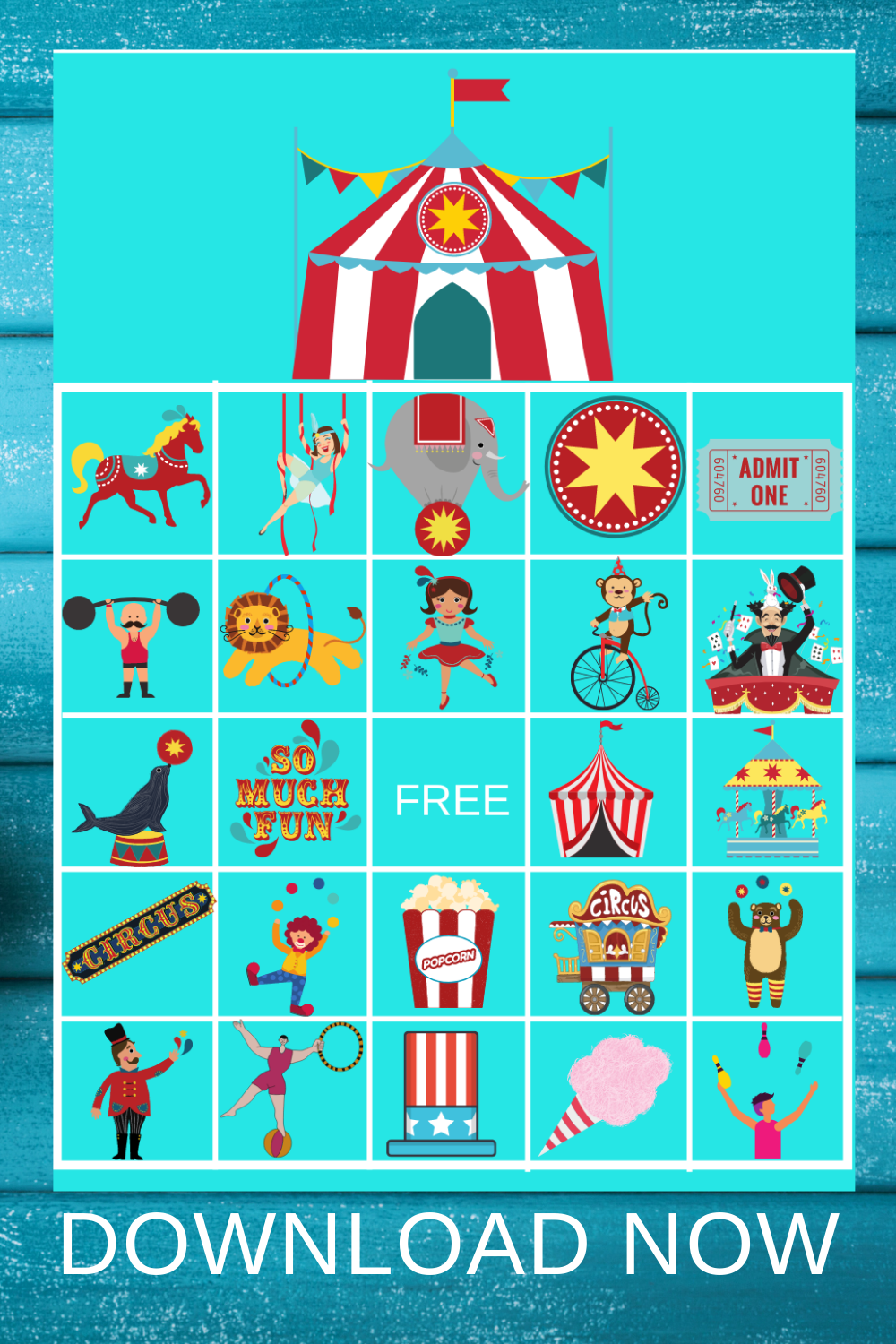 carnival themed bingo game for birthday party