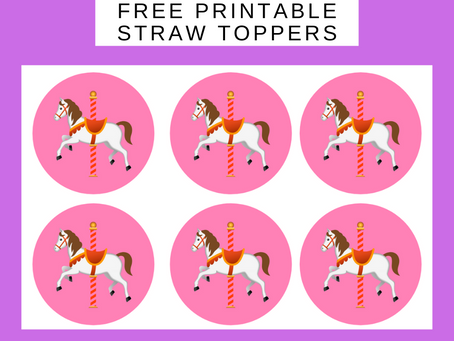 Carousel Straw Toppers | Free Printable Carousel Birthday Party Ideas | Carousel Themed Decorations