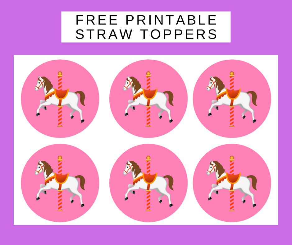 free printable carousel straw toppers