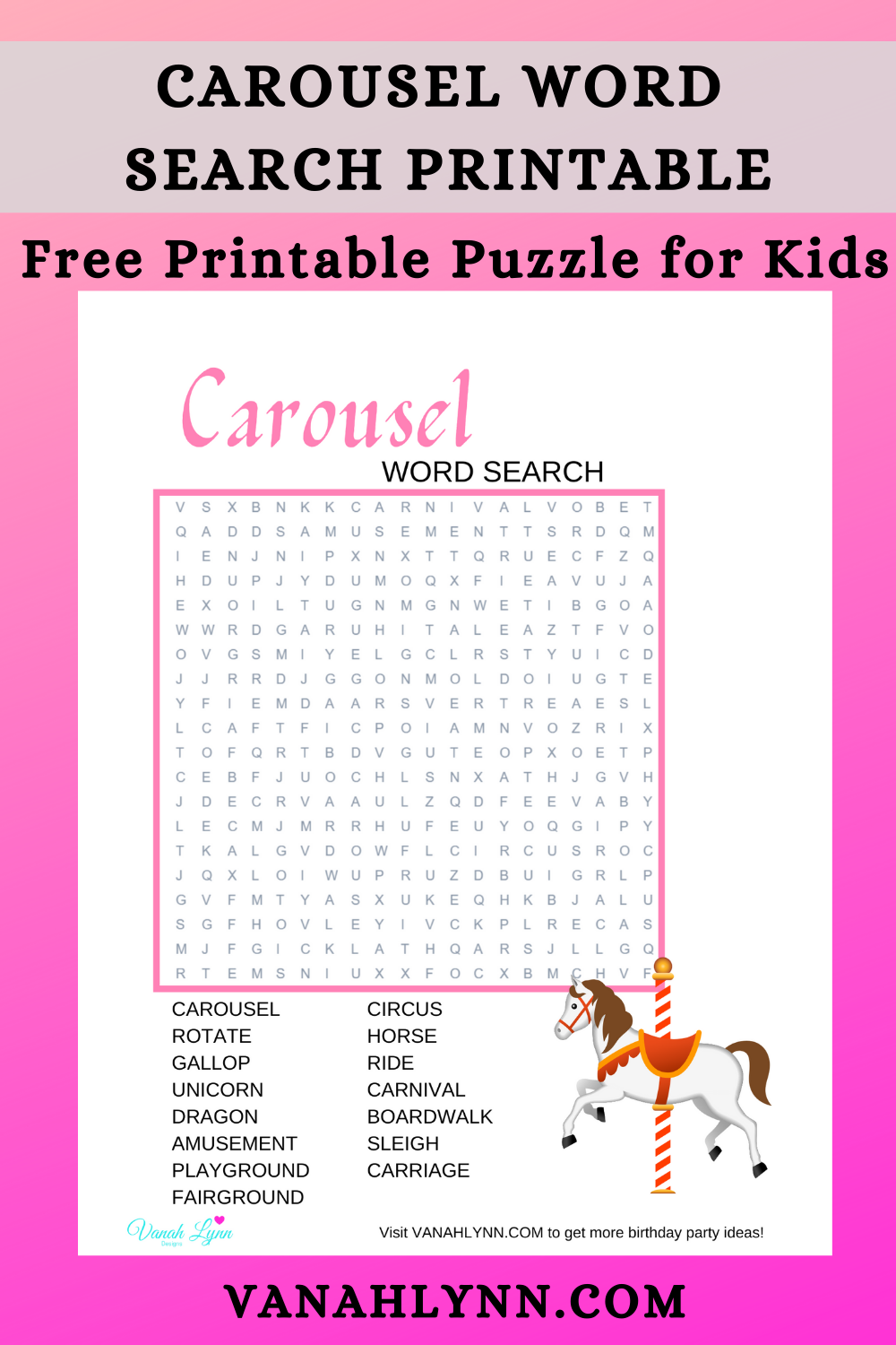 carousel activity sheet ideas for birthday party