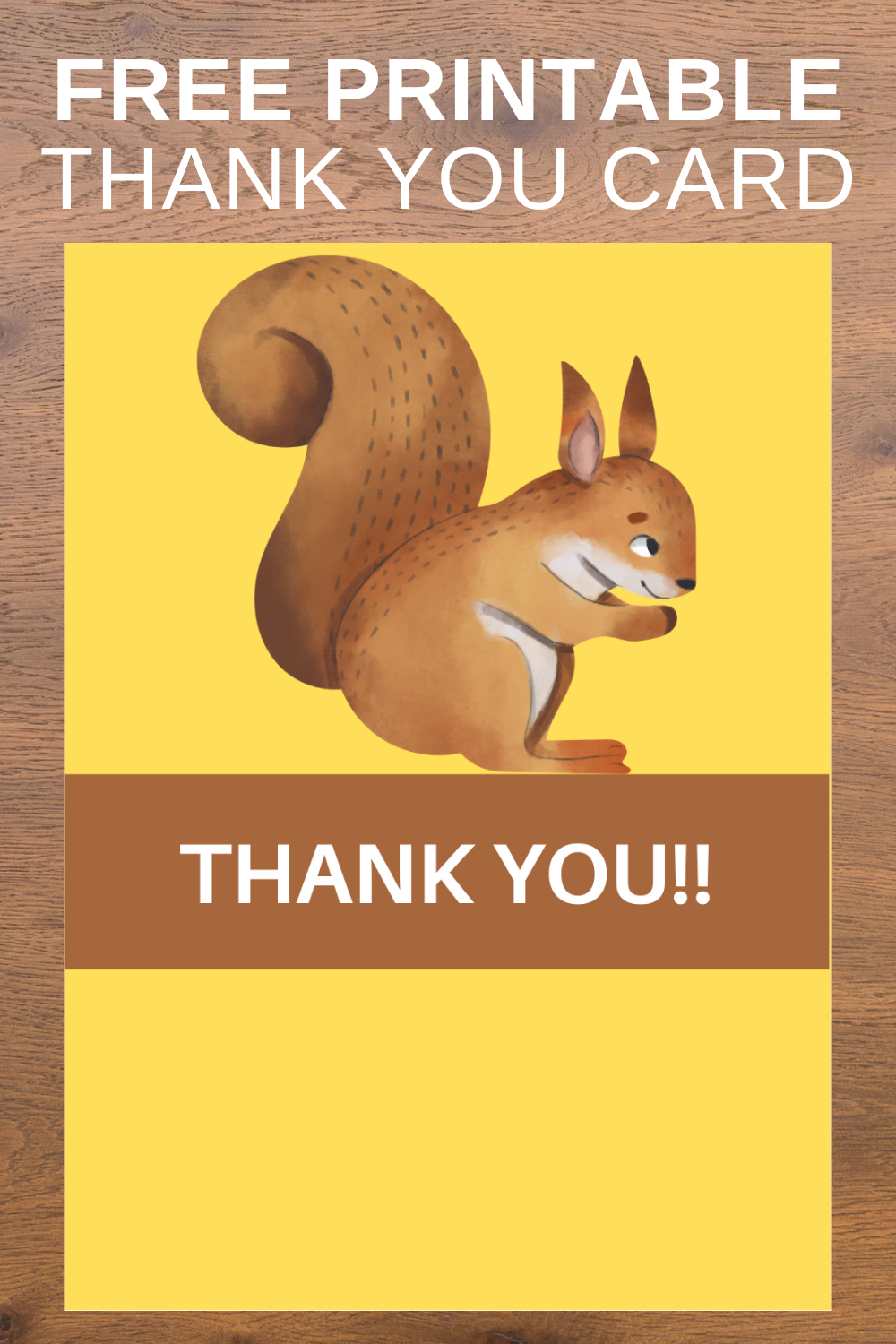 free download: woodland animal thank you note for birthday party