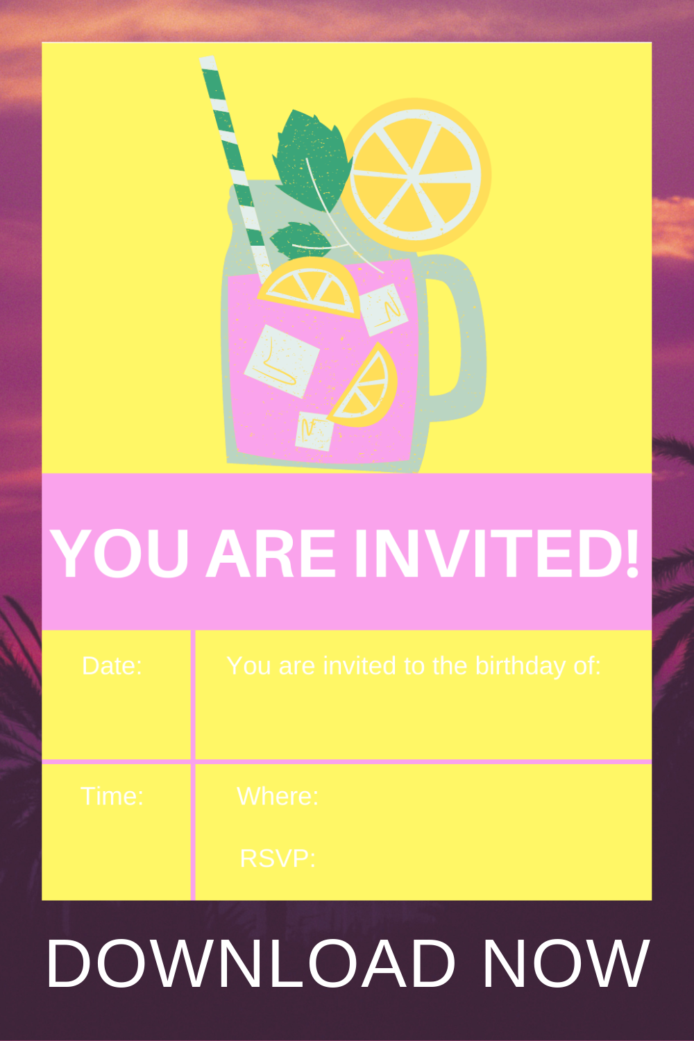 free download: pink lemonade themed party invite