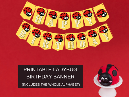 Ladybug Happy Birthday Banner and Ladybug Alphabet Banner | Ladybug Themed Birthday Party Décor