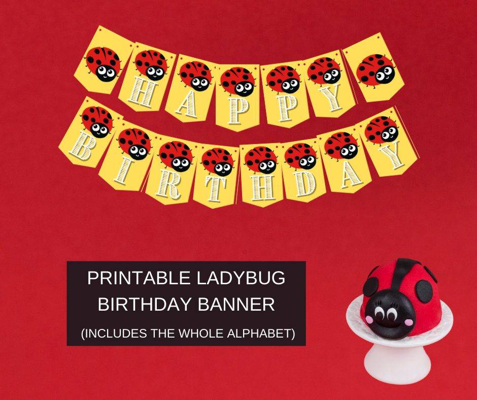 Ladybug birthday party banner and alphabet banner