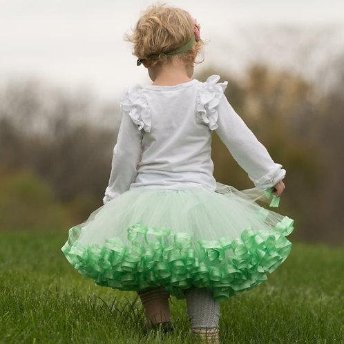 mint green tutu skirt on little girl