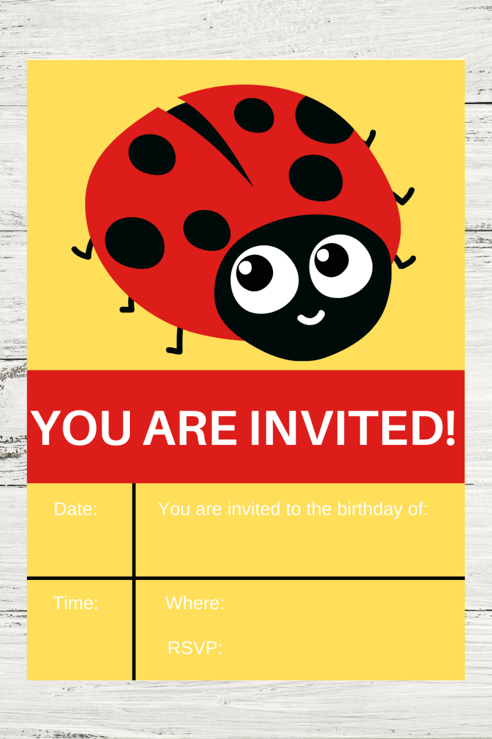 first birthday party ladybug invitation cards for kids