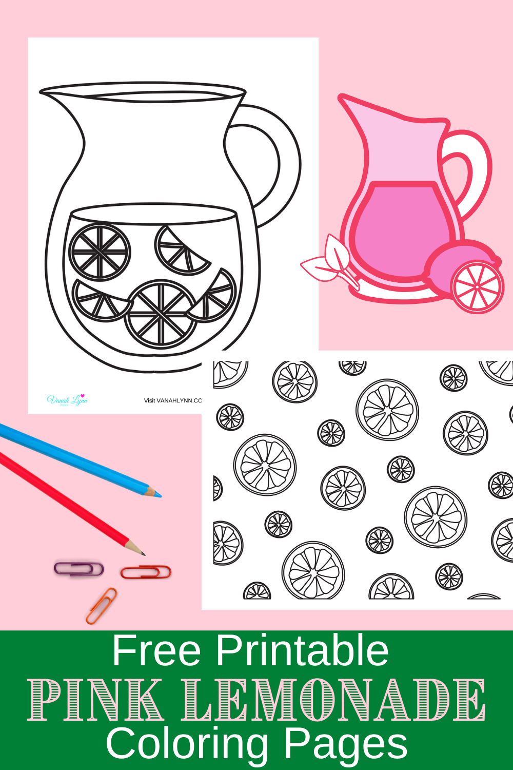 pink lemonade activity sheets for a birthday party