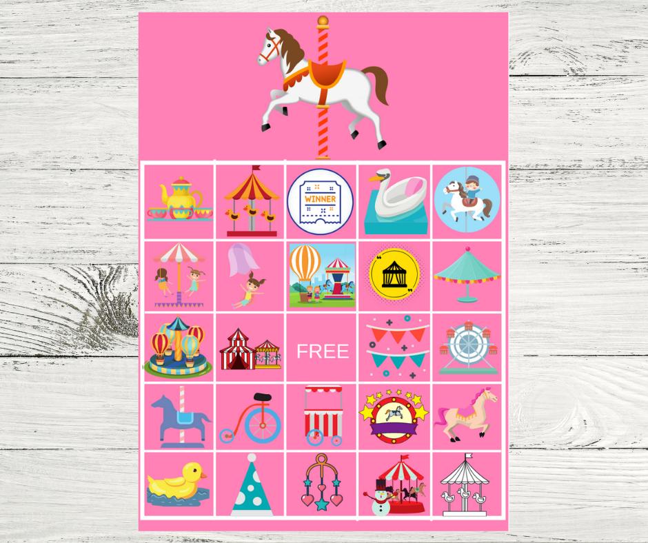 carousel themed bingo game for children