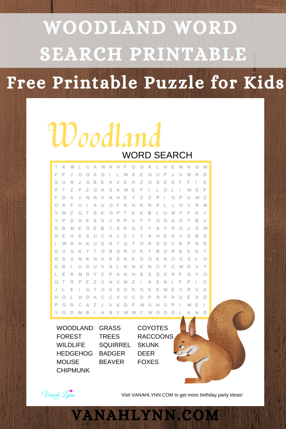 rustic animal word find for a woodland birthday party