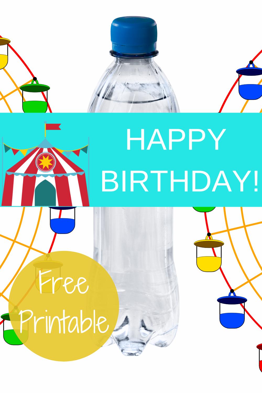 1st birthday circus, happy birthday water bottle label