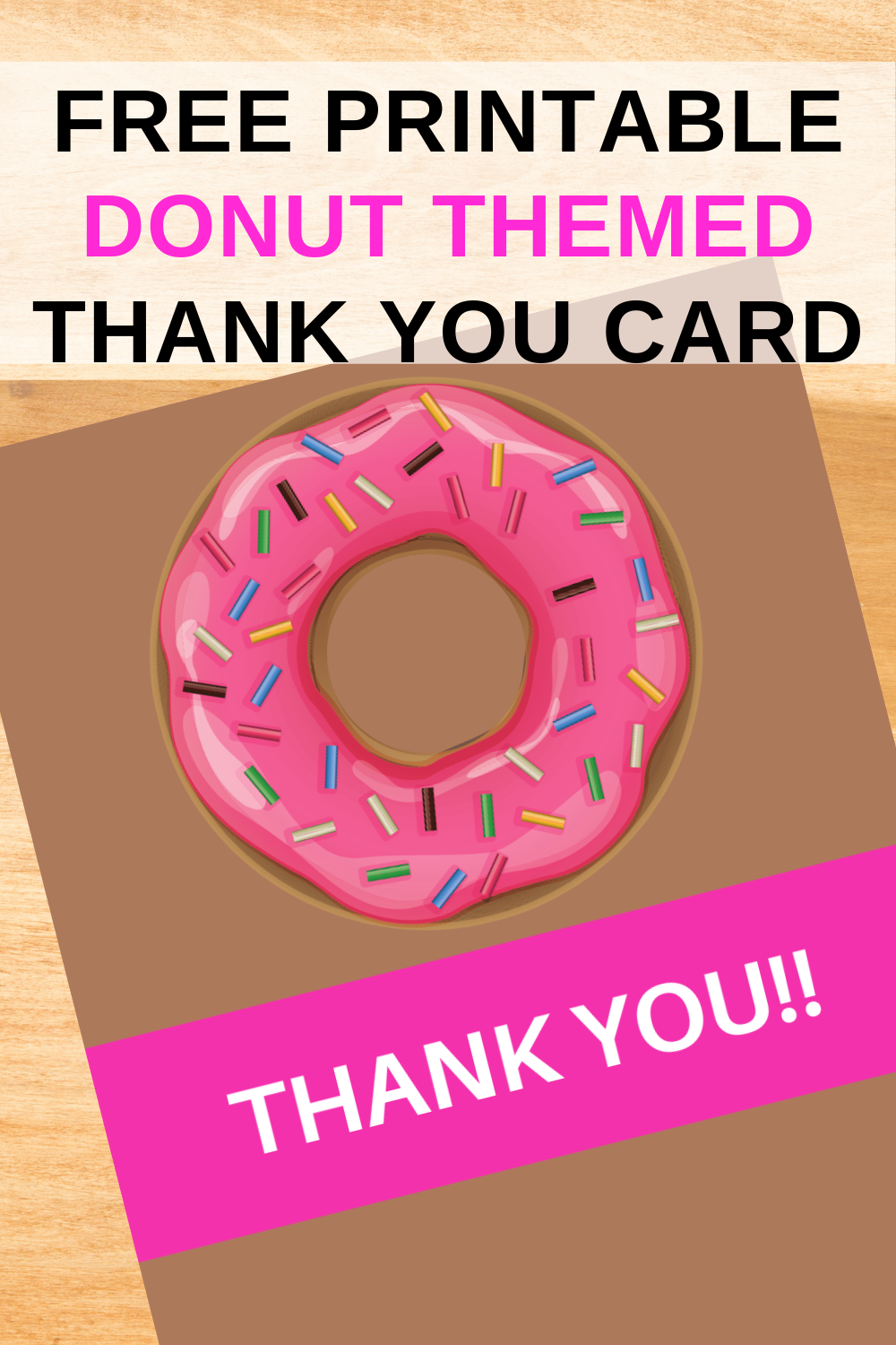free download: donut themed thank you card for kids