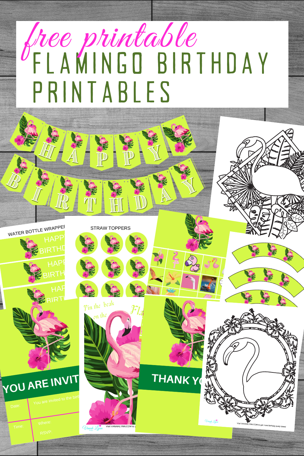 flamingo birthday party supplies and free printables