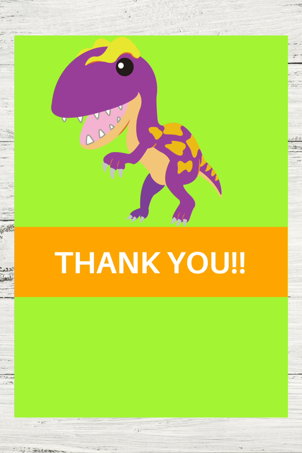 free download: dinosaur themed thank you card for a birthday party