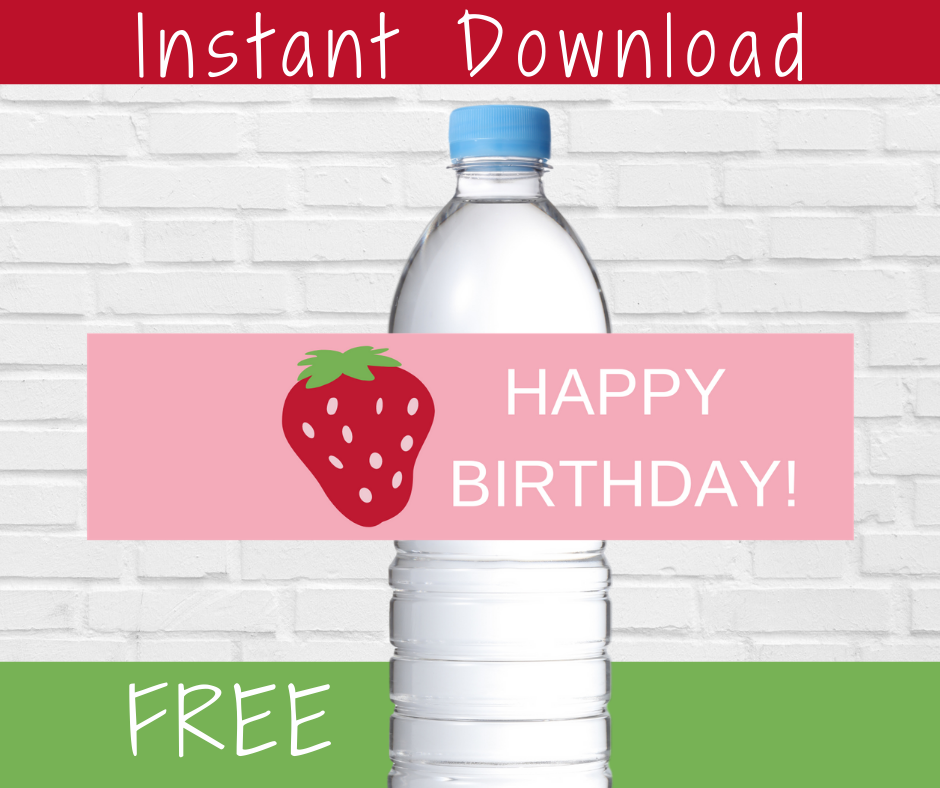 strawberry water bottle label for kids birthday party