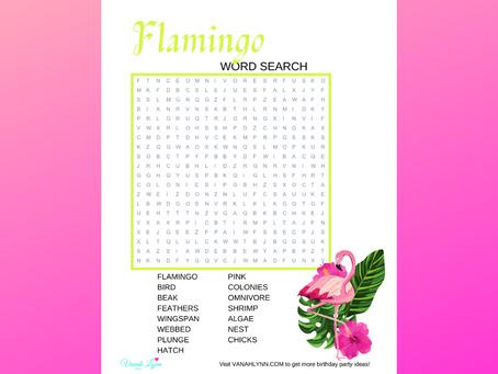 Flamingo Word Search | Free Printable Flamingo Themed Activity Sheet | Flamingo Birthday Party Idea