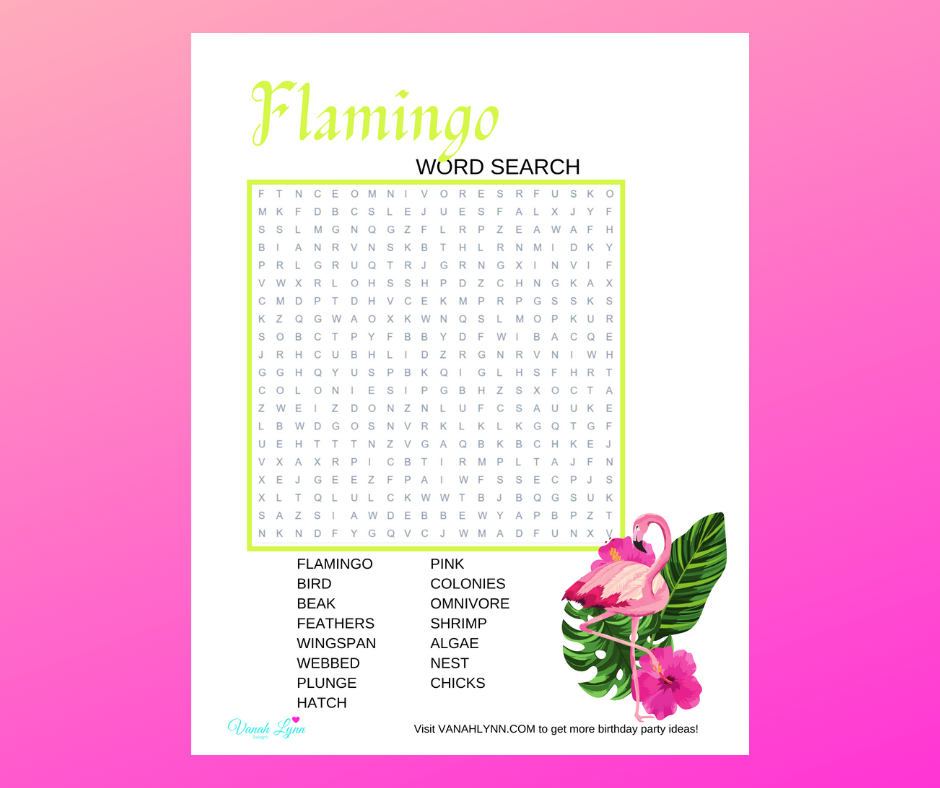 flamingo word search for a kids birthday party