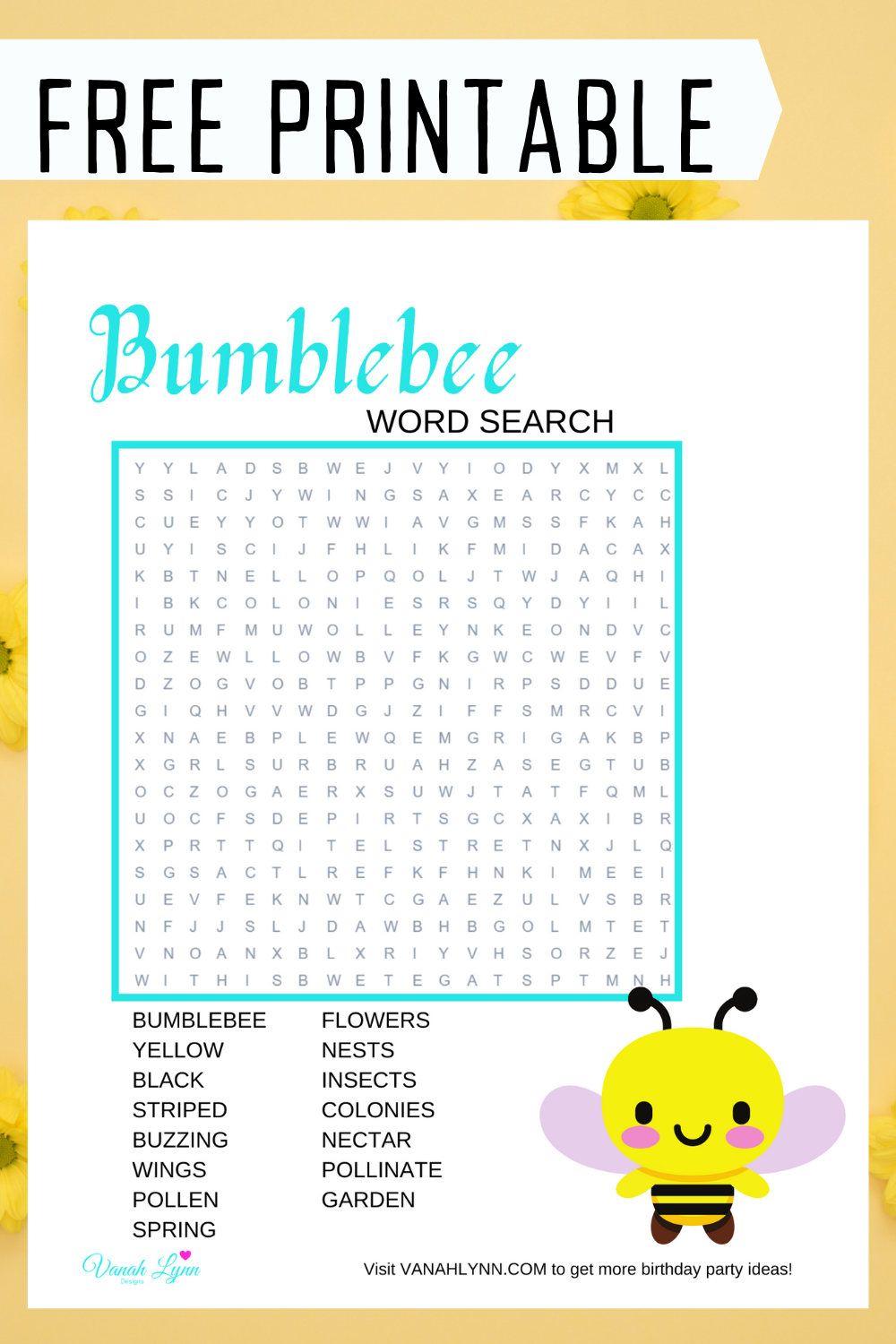 free printable bumble word find for kids