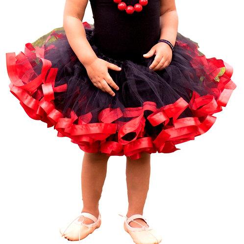 red and black birthday skirt for little girl