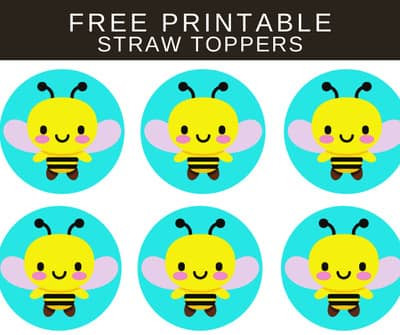 FREE Bee Theme Birthday Decorations: Bumble Bee Straw Toppers