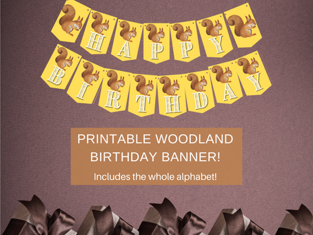 Woodland Themed Happy Birthday Banner and Squirrel Alphabet Banner | Woodland Themed Party Décor