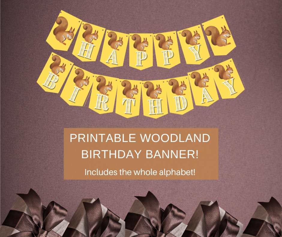 woodland themed happy birthday banner