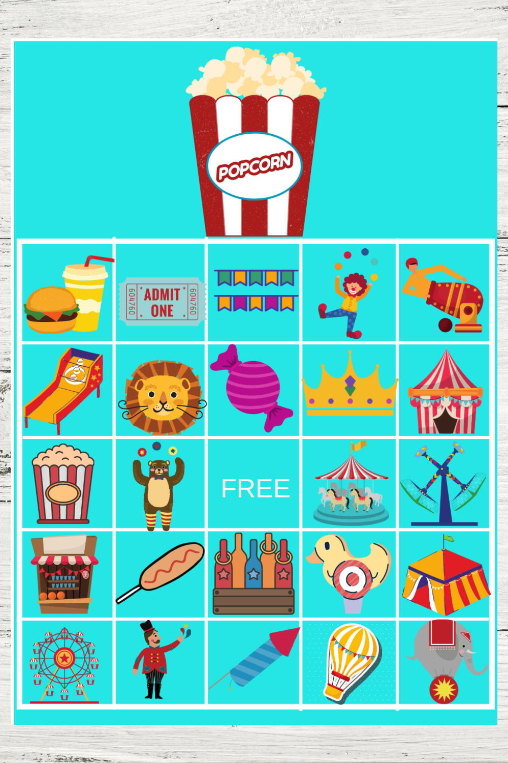 circus themed bingo game activity for a 1st birthday party