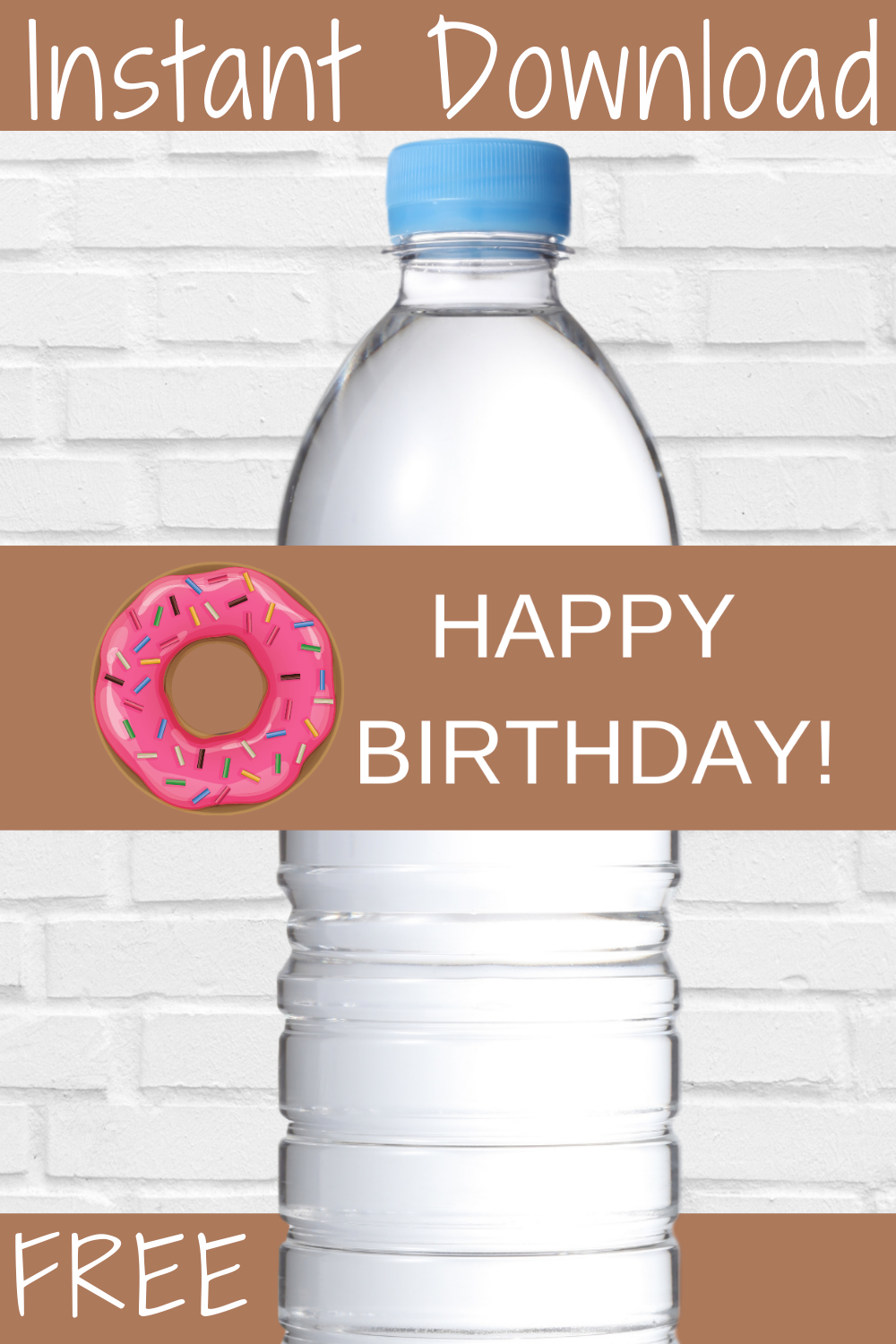 free printable donut water bottle wrapper for kids birthday party