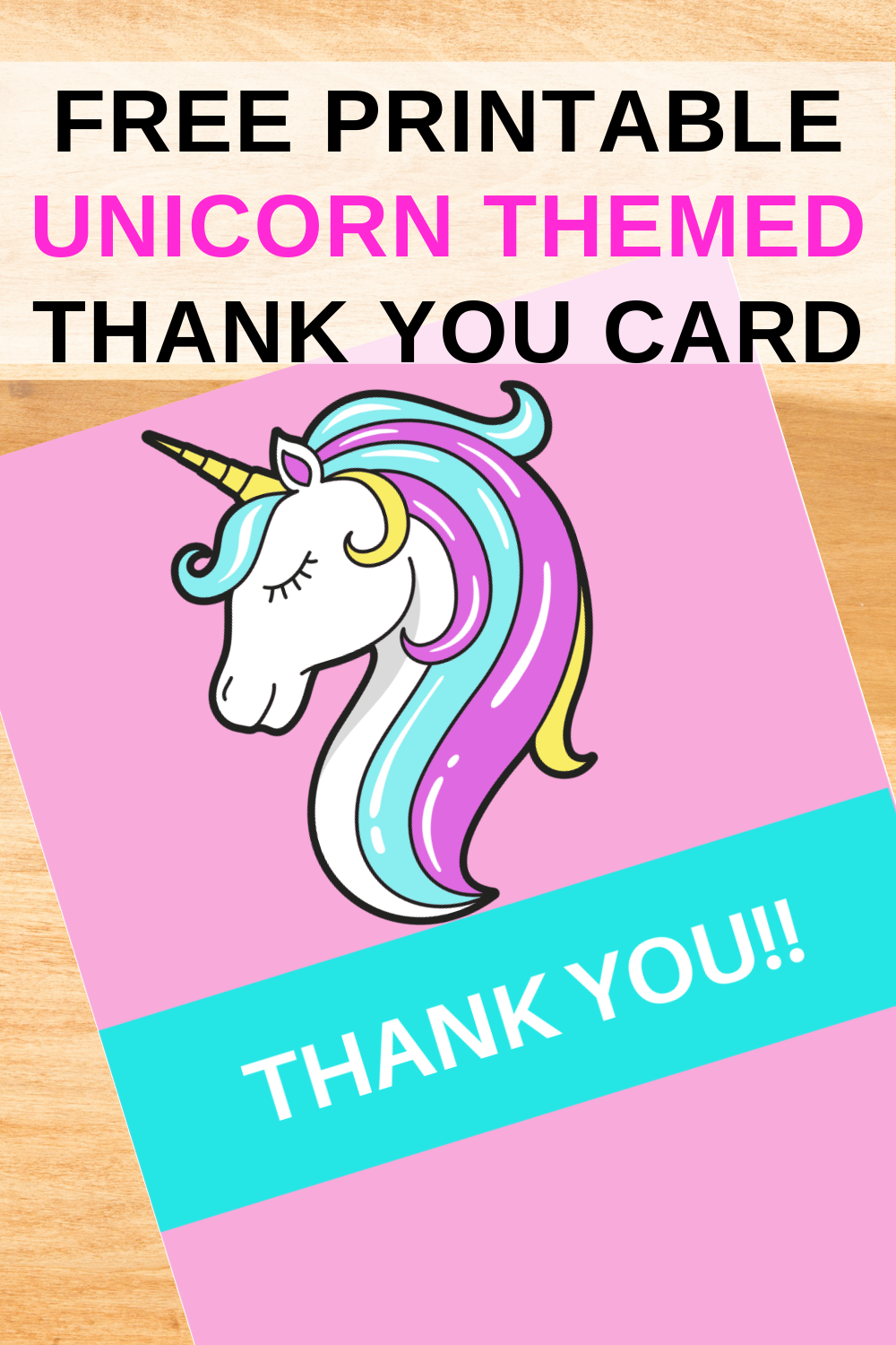 free download: unicorn thank you card for toddler birthday party