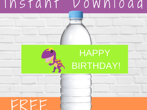 FREE Dinosaur Birthday Theme Decorations - Water Bottle Label