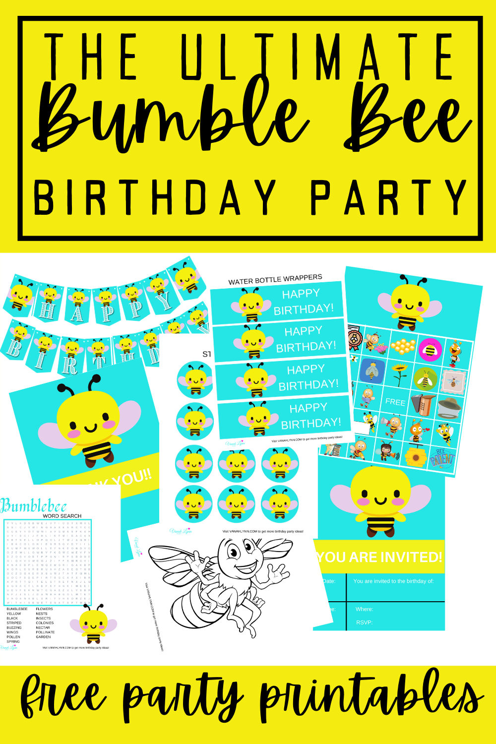 free printable bumble bee birthday party decorations free printables