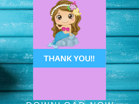 Mermaid Thank You Card | Free Printable Mermaid Thank You Note | DIY Mermaid Birthday Party Ideas