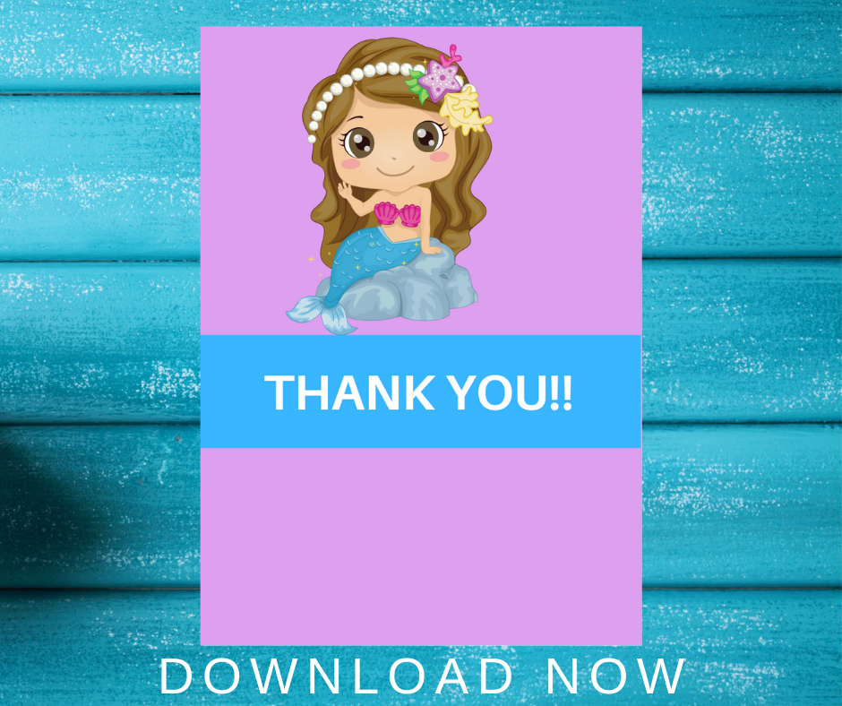 mermaid thank you card for kids birthday party