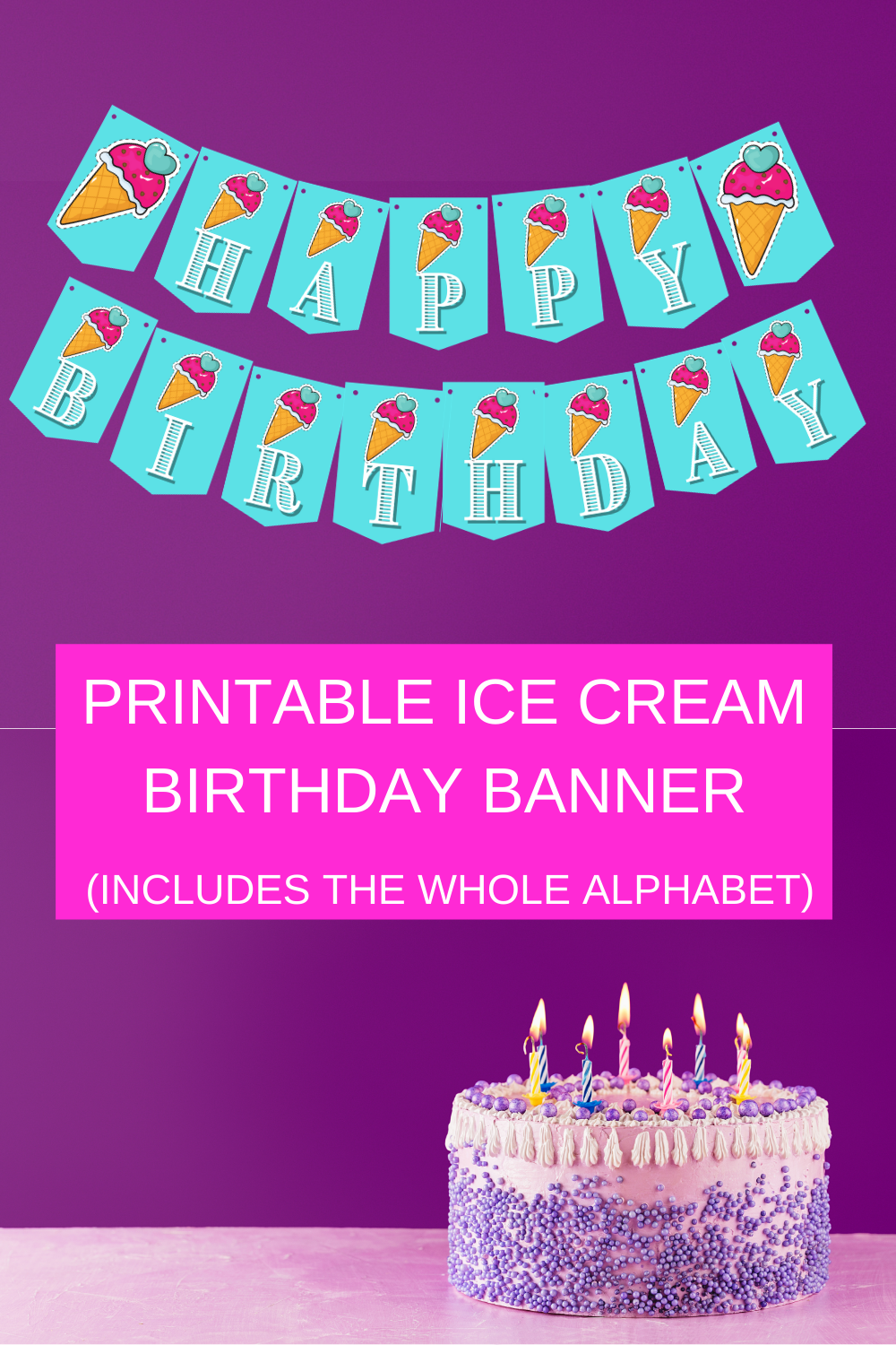 blue ice cream happy birthday banner for 1st birthday